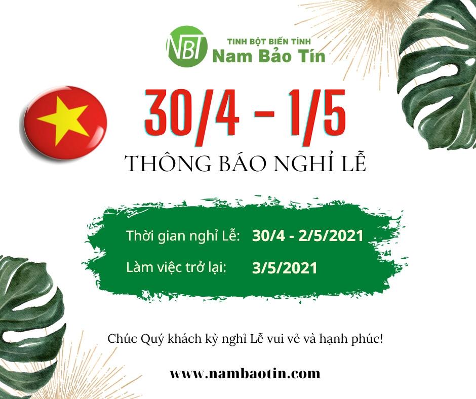 Nam Bảo Tín - Thông báo lịch nghĩ Lễ 30/4 - 1/5
