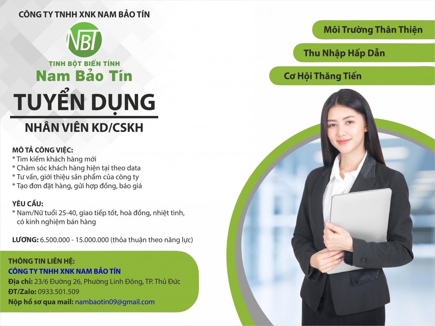 Nam Bảo Tín - Thông báo tuyển dụng tháng 3/2021